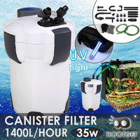 External Aquarium Filter Fish Tank Canister UV Light Media Kit 1400L/H