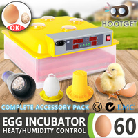 Egg Incubator Fully Automatic Digital LED Hatch 60 Eggs