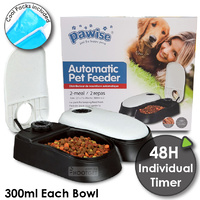PAWISE Auto Pet Feeder 2-Meal Food Dispenser Bowl