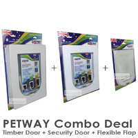 PETWAY Security Door + Timber Door + Flexible Flap Combo Set