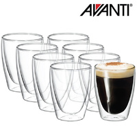 Avanti Caffe Twin Wall Glass 250ml  8 Piece Set