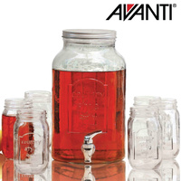 Avanti Glass Beverage Dispenser 5.7L With 470ml 6 Piece Set of Mason Jars