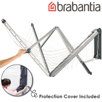 Brabantia Wall Fix Fold Away Clothes Line 4 Arm/24m with Protective Cover Clotheslines, Silver, 1 Piece