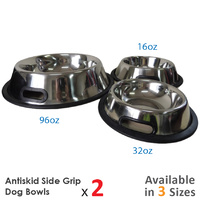 Superior Pet Goods  Antiskid Side Grip Pet Bowls - 3 SIzes