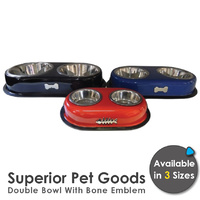 Superior Pet Goods Stainless Steel Bone Emblem Bowls