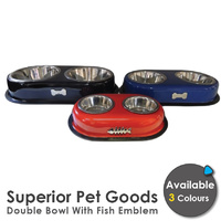 Superior Pet Goods Stainless Steel Fish Emblem Bowl