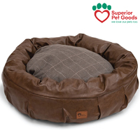 Harley Dog Bed Faux Leather & Check Chocolate