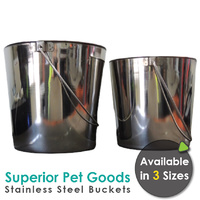 Superior Pet Goods Stainless Steel Pet Bucket - 2.8 / 5.7 / 8.5 Litres