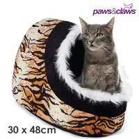 Paws & Claws Animal Print Pet Cat Bed Cave Igloo