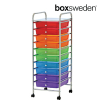 BoxSweden Home/Office Organiser 10 Drawers Storage Trolley w/Wheels Muti-Colour