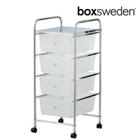 BoxSweden Home/Office Organiser 4 Drawers Storage Trolley w/Wheels Clear