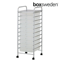 BoxSweden Home/Office Organiser 10 Drawers Storage Trolley w/Wheels Clear