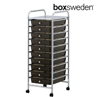 BoxSweden Home/Office Organiser 10 Drawers Storage Trolley w/Wheels Black