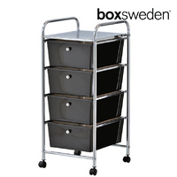 BoxSweden Home/Office Organiser 4 Drawers Storage Trolley w/Wheels Black