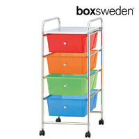 BoxSweden Home/Office Organiser 4 Drawers Storage Trolley w/Wheels Muti-Colour