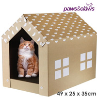 Paws & Claws Cat Scratching Cardboard House
