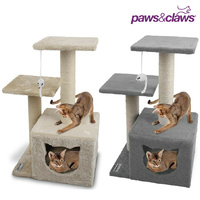 Hideaway Cat Tree Scratching Tower with Toy Double Platform