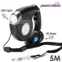 3 In 1 Retractable Dog Lead Leash LED Light Poo Bag Dispenser