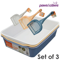 3 x Cat Litter Tray Set Toilet Pan With Scoop