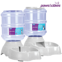 Pet Dog Cat Barrel Water Food Dispenser Set 3.8L