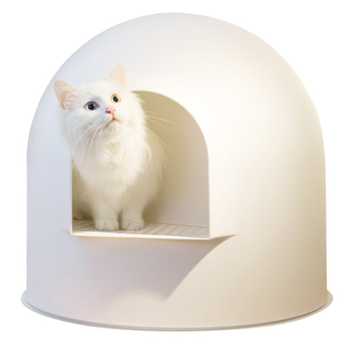 Pidan Igloo Snow House Portable Hooded Cat Toilet Litter Box Scoop White