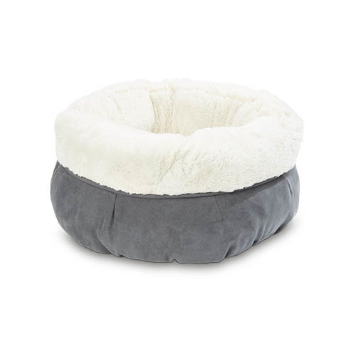 Cat Pet Snuggle Round Bed Grey